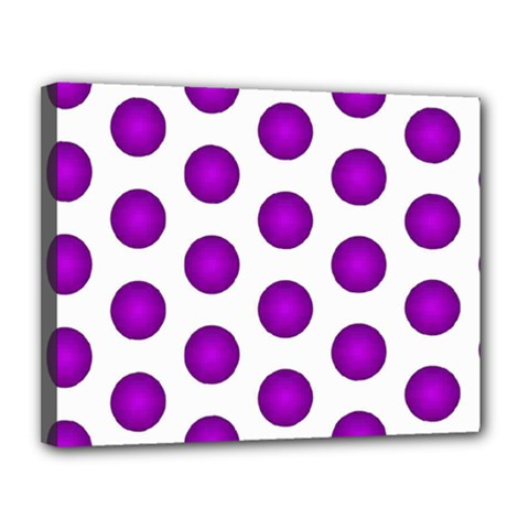 Purple And White Polka Dots Canvas 14  x 11  (Framed)