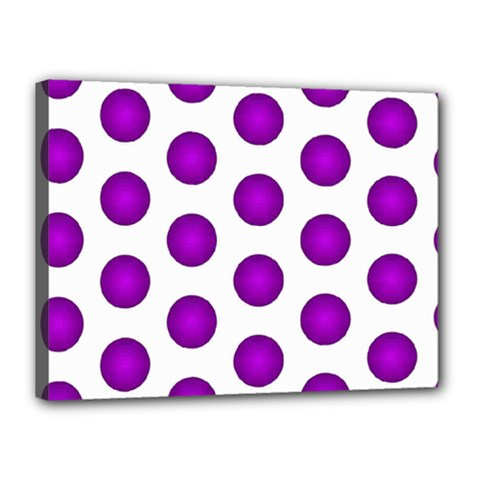 Purple And White Polka Dots Canvas 16  x 12  (Framed)