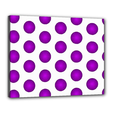 Purple And White Polka Dots Canvas 20  x 16  (Framed)