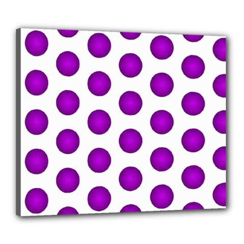 Purple And White Polka Dots Canvas 24  x 20  (Framed)