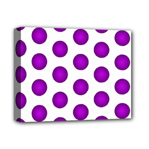 Purple And White Polka Dots Deluxe Canvas 14  X 11  (framed)