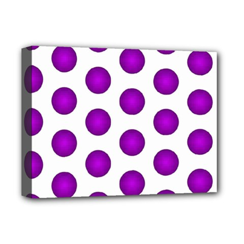Purple And White Polka Dots Deluxe Canvas 16  x 12  (Framed)