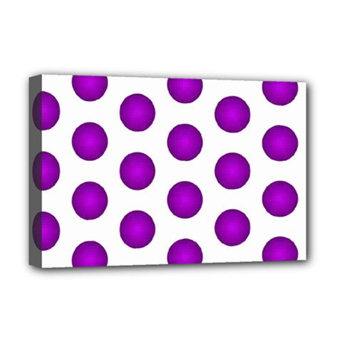 Purple And White Polka Dots Deluxe Canvas 18  x 12  (Framed)