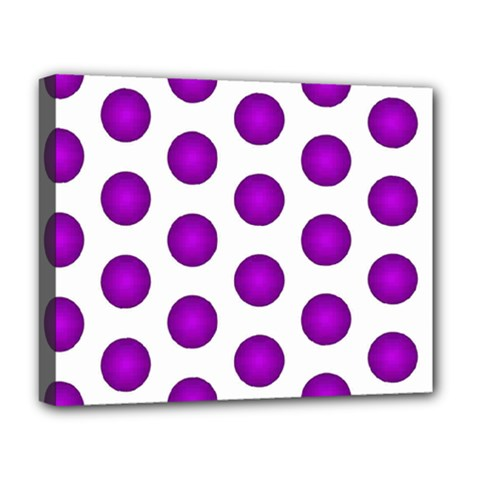 Purple And White Polka Dots Deluxe Canvas 20  x 16  (Framed)