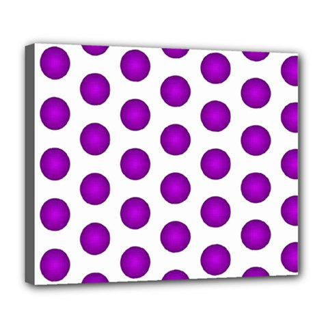 Purple And White Polka Dots Deluxe Canvas 24  x 20  (Framed)