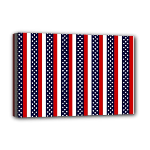 Patriot Stripes Deluxe Canvas 18  x 12  (Framed)