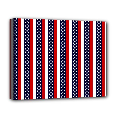 Patriot Stripes Deluxe Canvas 20  x 16  (Framed)