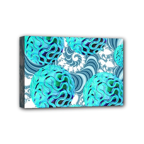 Teal Sea Forest, Abstract Underwater Ocean Mini Canvas 6  x 4  (Framed)