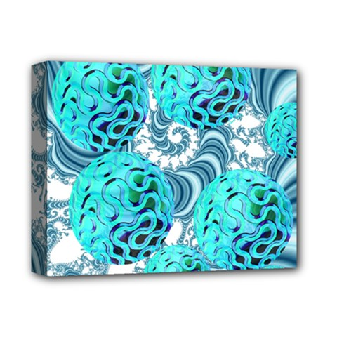 Teal Sea Forest, Abstract Underwater Ocean Deluxe Canvas 14  x 11  (Framed)