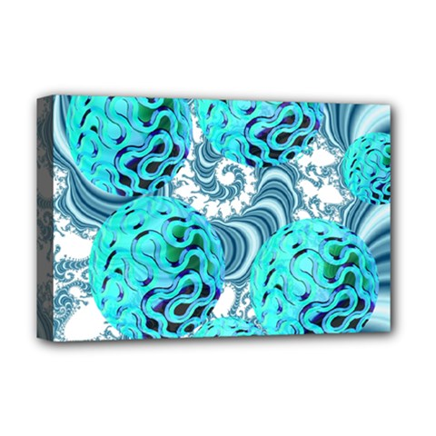 Teal Sea Forest, Abstract Underwater Ocean Deluxe Canvas 18  X 12  (framed)