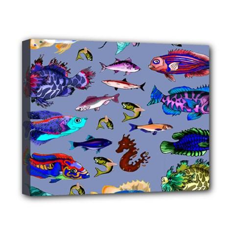 Fishy Canvas 10  X 8  (framed)