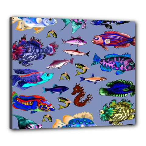 Fishy Canvas 24  X 20  (framed)