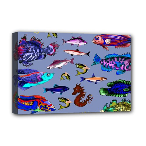 Fishy Deluxe Canvas 18  x 12  (Framed)