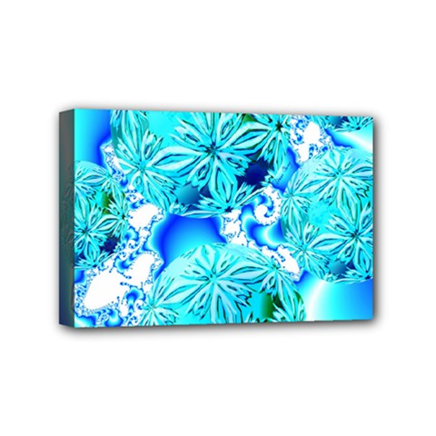 Blue Ice Crystals, Abstract Aqua Azure Cyan Mini Canvas 6  x 4  (Stretched)
