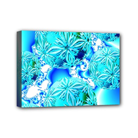 Blue Ice Crystals, Abstract Aqua Azure Cyan Mini Canvas 7  x 5  (Stretched)