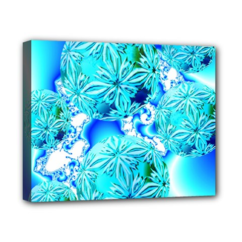 Blue Ice Crystals, Abstract Aqua Azure Cyan Canvas 10  x 8  (Stretched)