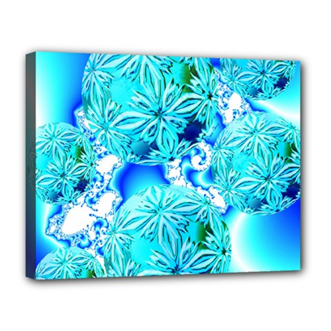 Blue Ice Crystals, Abstract Aqua Azure Cyan Canvas 14  X 11  (stretched)