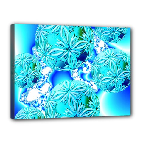 Blue Ice Crystals, Abstract Aqua Azure Cyan Canvas 16  x 12  (Stretched)