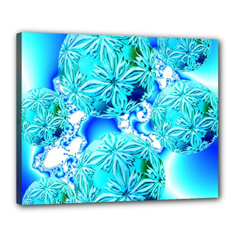 Blue Ice Crystals, Abstract Aqua Azure Cyan Canvas 20  x 16  (Stretched)