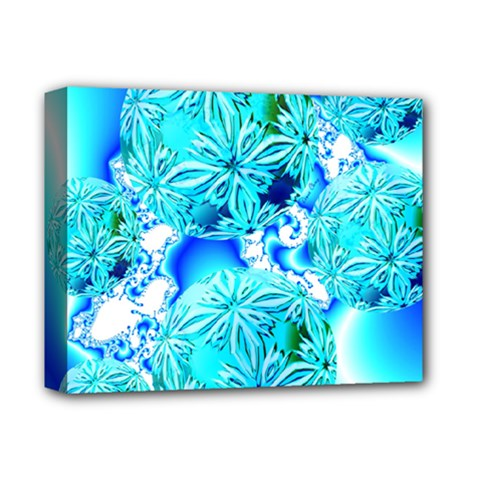 Blue Ice Crystals, Abstract Aqua Azure Cyan Deluxe Canvas 14  x 11  (Stretched)