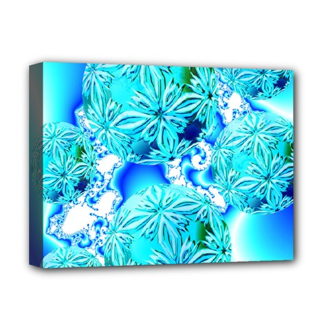 Blue Ice Crystals, Abstract Aqua Azure Cyan Deluxe Canvas 16  x 12  (Stretched)