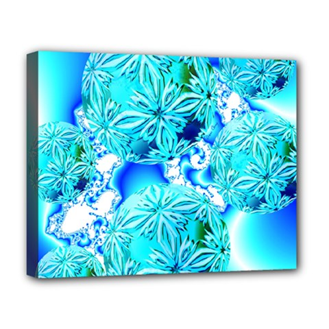 Blue Ice Crystals, Abstract Aqua Azure Cyan Deluxe Canvas 20  x 16  (Stretched)