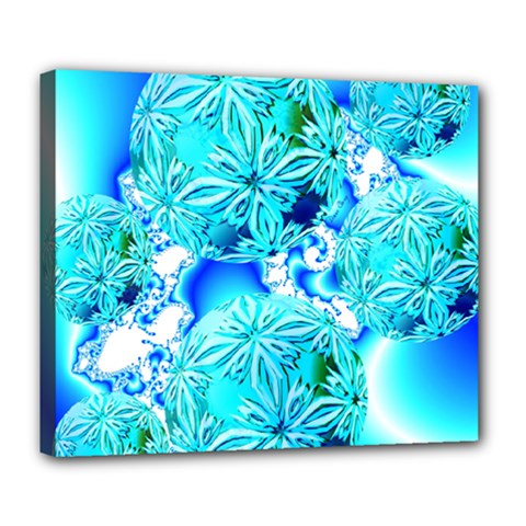 Blue Ice Crystals, Abstract Aqua Azure Cyan Deluxe Canvas 24  x 20  (Stretched)