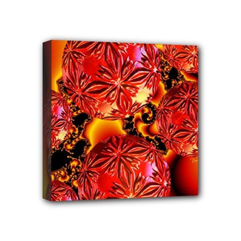 Flame Delights, Abstract Red Orange Mini Canvas 4  x 4  (Framed)