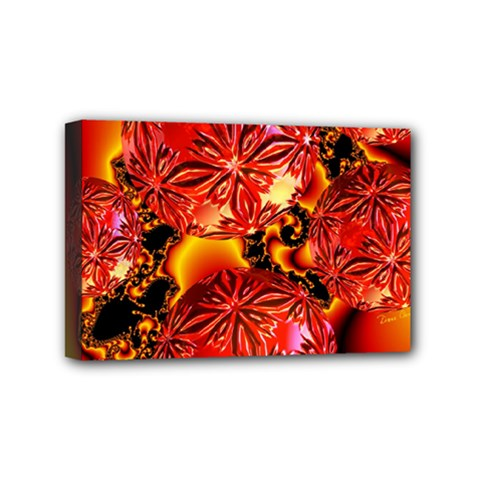 Flame Delights, Abstract Red Orange Mini Canvas 6  x 4  (Framed)