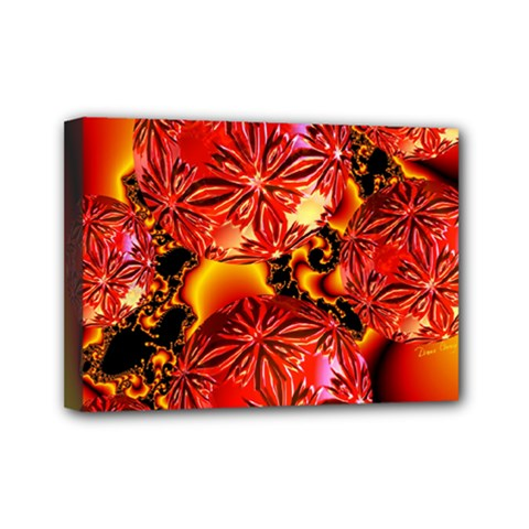 Flame Delights, Abstract Red Orange Mini Canvas 7  x 5  (Framed)