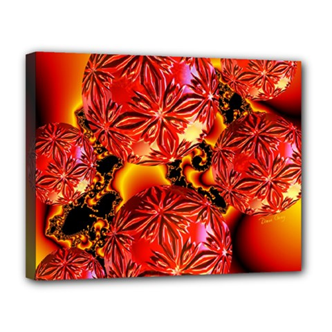 Flame Delights, Abstract Red Orange Canvas 14  X 11  (framed)