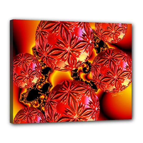 Flame Delights, Abstract Red Orange Canvas 20  X 16  (framed)