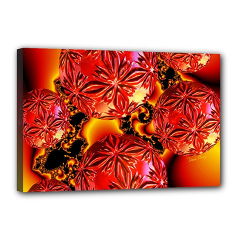 Flame Delights, Abstract Red Orange Canvas 18  x 12  (Framed)
