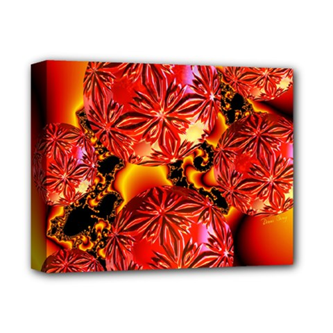 Flame Delights, Abstract Red Orange Deluxe Canvas 14  X 11  (framed)