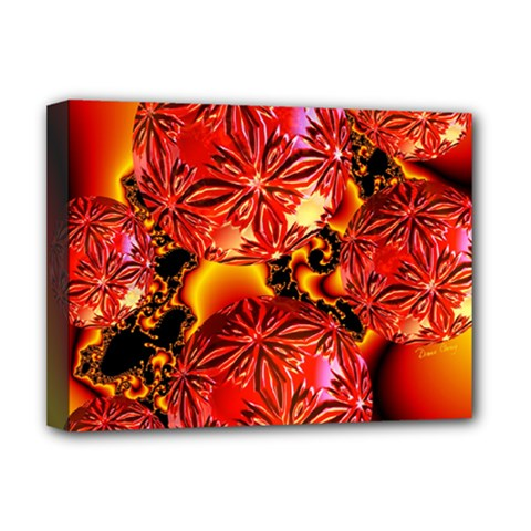 Flame Delights, Abstract Red Orange Deluxe Canvas 16  X 12  (framed)