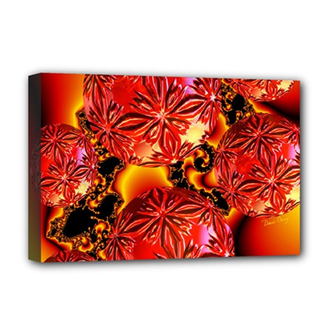 Flame Delights, Abstract Red Orange Deluxe Canvas 18  X 12  (framed)