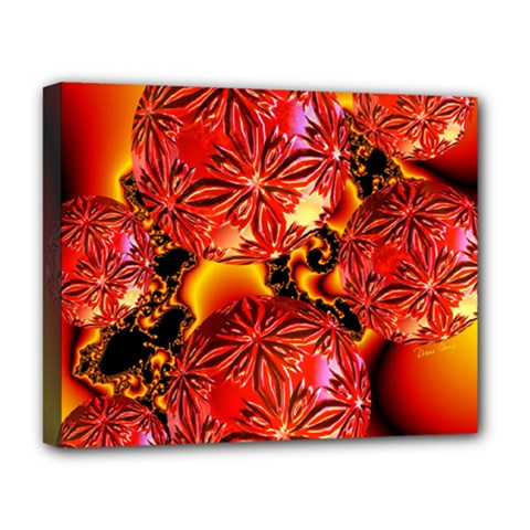 Flame Delights, Abstract Red Orange Deluxe Canvas 20  x 16  (Framed)