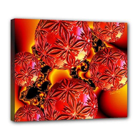 Flame Delights, Abstract Red Orange Deluxe Canvas 24  x 20  (Framed)