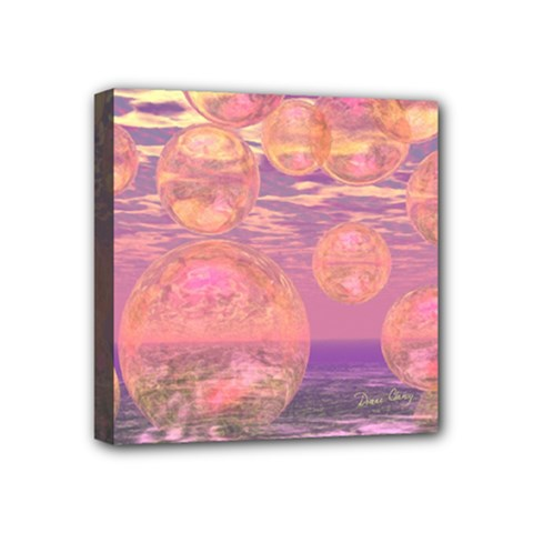 Glorious Skies, Abstract Pink And Yellow Dream Mini Canvas 4  x 4  (Framed)