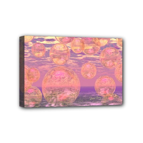 Glorious Skies, Abstract Pink And Yellow Dream Mini Canvas 6  x 4  (Framed)