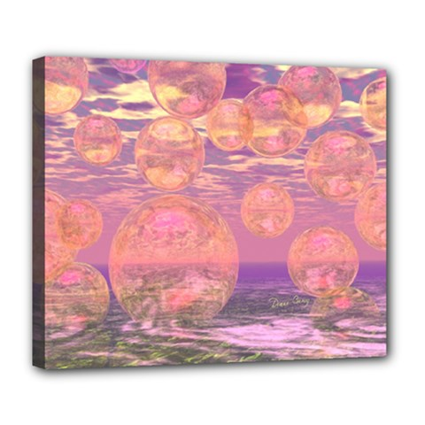 Glorious Skies, Abstract Pink And Yellow Dream Deluxe Canvas 24  x 20  (Framed)