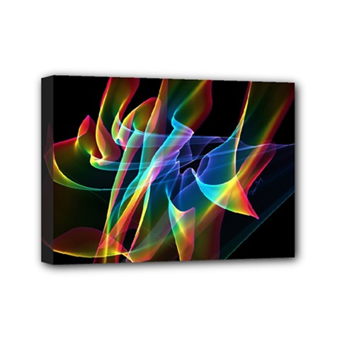 Aurora Ribbons, Abstract Rainbow Veils  Mini Canvas 7  x 5  (Framed)