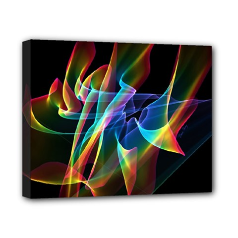 Aurora Ribbons, Abstract Rainbow Veils  Canvas 10  X 8  (framed)