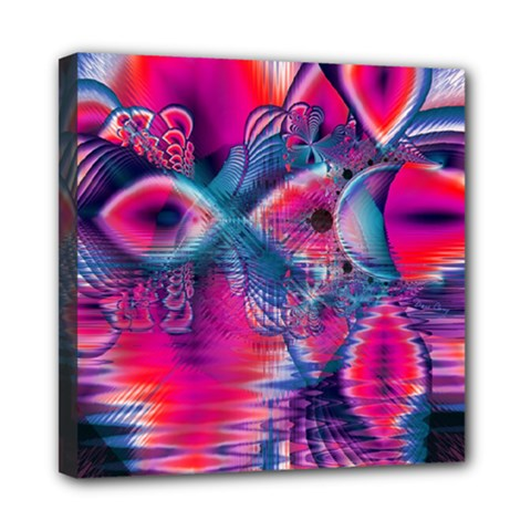 Cosmic Heart of Fire, Abstract Crystal Palace Mini Canvas 8  x 8  (Framed)