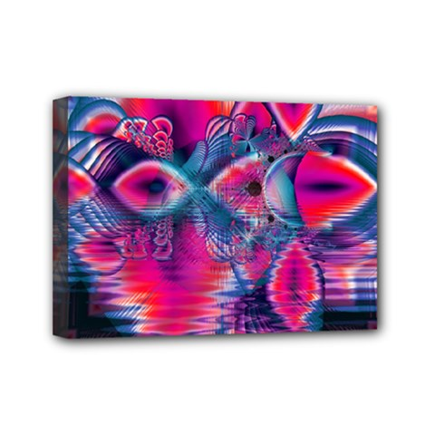 Cosmic Heart of Fire, Abstract Crystal Palace Mini Canvas 7  x 5  (Framed)