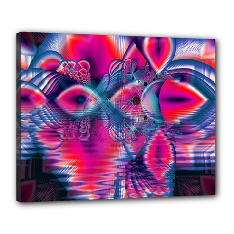 Cosmic Heart Of Fire, Abstract Crystal Palace Canvas 20  X 16  (framed)