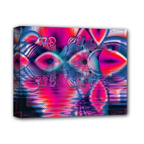 Cosmic Heart of Fire, Abstract Crystal Palace Deluxe Canvas 14  x 11  (Framed)