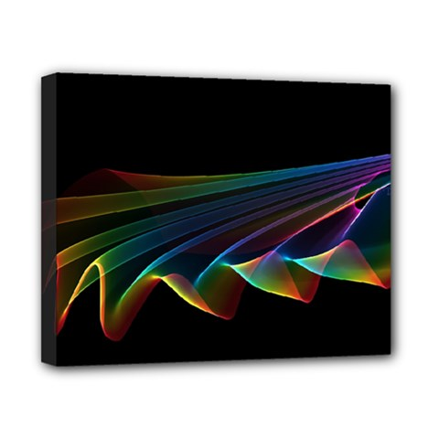 Flowing Fabric Of Rainbow Light, Abstract  Canvas 10  X 8  (framed)