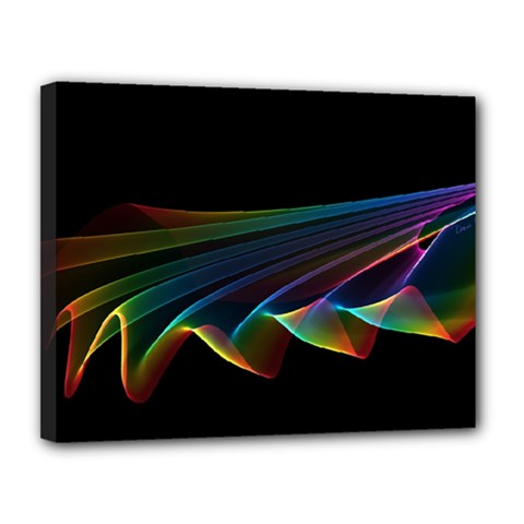 Flowing Fabric of Rainbow Light, Abstract  Canvas 14  x 11  (Framed)