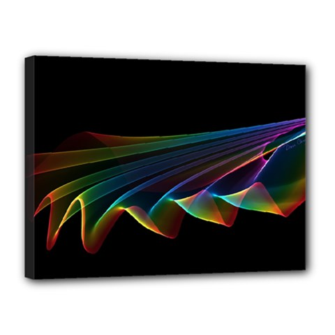 Flowing Fabric of Rainbow Light, Abstract  Canvas 16  x 12  (Framed)